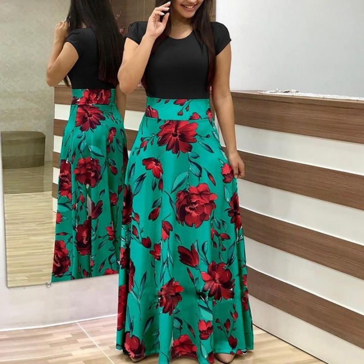 S-5XL Size!Women Fashion Floral Print Maxi Dress Short Sleeve Bohemian Long Dress High Waist Dresses s black