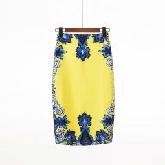 High Waist Skirts Womens Fashion Print Boho Style Chic Slim Skirt Female Vintage Sexy Midi Skirt 1082-21 s