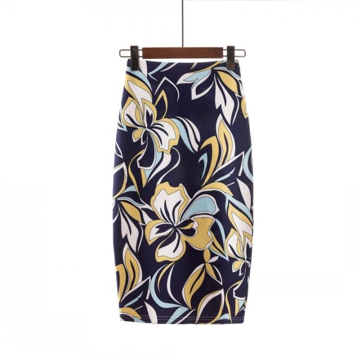 52aaa77e74 2018 Women Floral Print Multiple Color Midi Skirt Female Vintage Basic  Bodycon Skirts Saia Femininas 1082