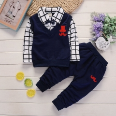 Baby Boy Clothes Set Children Clothing Sets Kids Clothes Baby Boys T-shirts Pants 2PCS Tracksuit Navy 80CM/S Spandex+Cotton