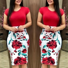 Women Casual Bodycon Dress Floral Print Formal Package Hip Dress Short Sleeve Round Neck Dresses s red