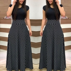 S-5XL Women Fashion Short Sleeve Polka Dots Print Casual Long Dress Office and Black Formal Dresses s Dot printing