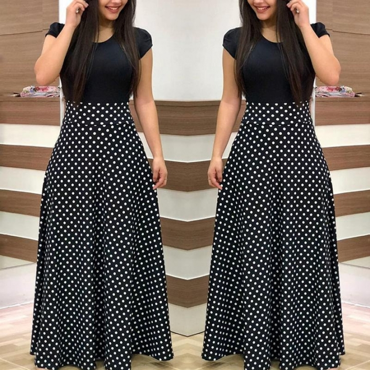 ee81c889355e S-5XL Women Fashion Short Sleeve Polka Dots Print Casual Long Dress Office  and Black