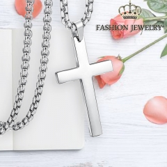 1PCS Vintage Cross Pendant Necklace 3Color Classic Gold Chain Cross Necklace Men Women Cross Jewelry Silver Cross 60cm