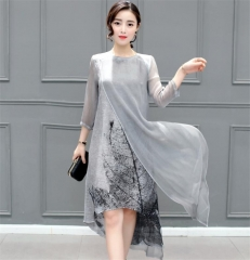New Summer Autumn Women Cotton Linen Long Dresses Print Casual Plus Size Slim Dress Retro Printing s gray