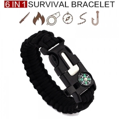 6 In 1 Multifunction Outdoor Survival Bracelet Fishing Line Hook Parachute Cord Whistle Outdoor tool Black One Size
