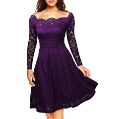 Fashion Women's Long Sleeve Formal Swing Dress Boat Neck Bodycon Cocktail Dresses Casual Lace Dress s purple
