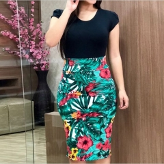Women Casual Bodycon Dress Floral Print Formal Package Hip Dress Short Sleeve Round Neck Dresses l black