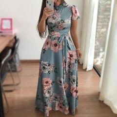 Women Fashion Floral Maxi Dress Spandex Lace Up Short Sleeve Mock Neck Milk Silk High Waist Dresses xl green