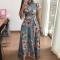 Women Fashion Floral Maxi Dress Spandex Lace Up Short Sleeve Mock Neck Milk Silk High Waist Dresses xl green