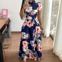 Women Fashion Floral Maxi Dress Spandex Lace Up Short Sleeve Mock Neck Milk Silk High Waist Dresses s blue