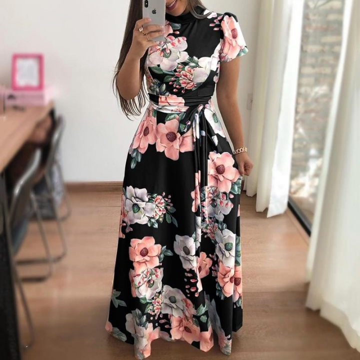 Women Fashion Floral Maxi Dress Spandex Lace Up Short Sleeve Mock Neck Milk Silk High Waist Dresses l black