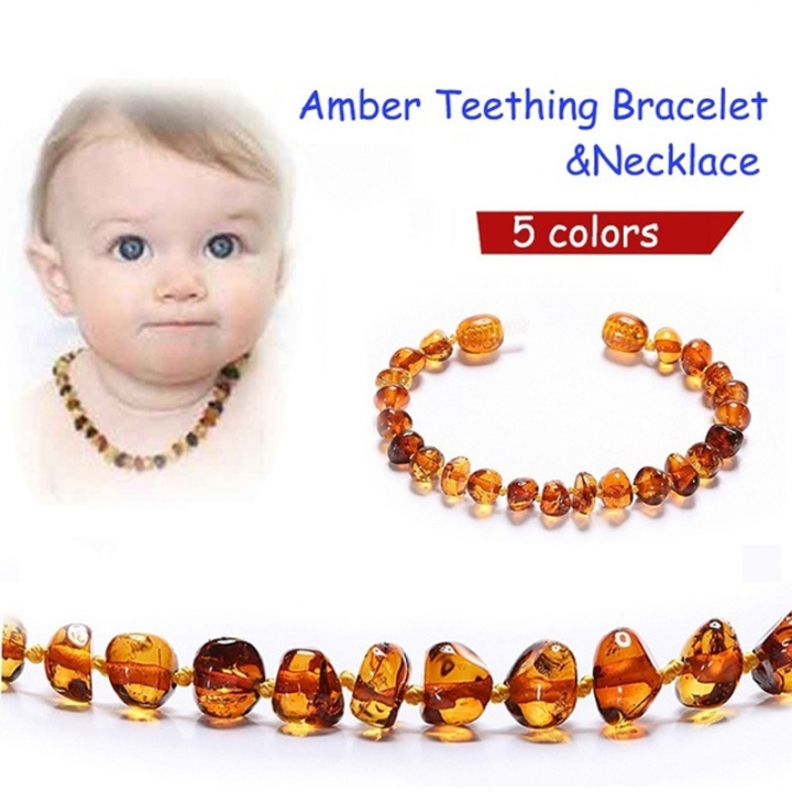 Baltic Amber Teething Necklace Bracelet for Baby Girl Boys Relieve Pain Healthy Teething Baby Gifts Multicolor 13inch Necklace