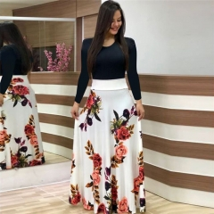 Fashion Ladies Dress Long-sleeved High Waist Sexy Flower Print Color Matching Dress Long Skirt Women s white
