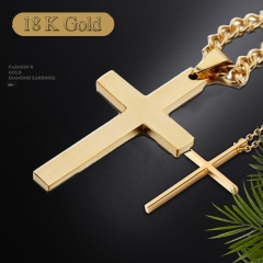 1PCS Vintage Cross Pendant Necklace 3Color Classic Gold Chain Cross Necklace Men Women Cross Jewelry Gold Cross 60cm