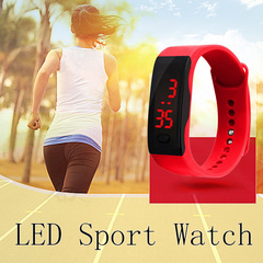 Hot Fashion Silicone Strap Touch Screen Digital LED Waterproof Sport Wrist Watch Men Women Watches RED ONE SIZE