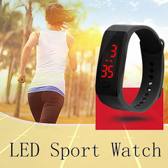 Hot Fashion Silicone Strap Touch Screen Digital LED Waterproof Sport Wrist Watch Men Women Watches BLACK ONE SIZE