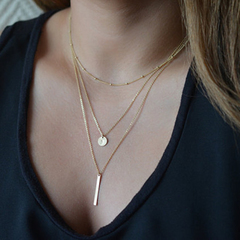 Multilayer Necklaces For Women Gold Silver Color Long Chain Female Pendant Necklace Fashion Jewelry Gold One size