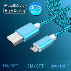 2A Fast Charging Cable Nylon USB Sync Data Cable Android Phone Adapter Charger Cable for Samsung Blue 3M/10FT