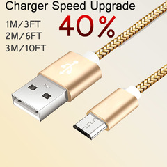 2A Fast Charging Cable Nylon USB Sync Data Cable Android Phone Adapter Charger Cable for Samsung Gold 2M/6FT