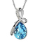 NJ Fashion Austrian Crystal Necklace Water Drop Pendant Necklace For Women Necklace Jewelry Sky Blue one size