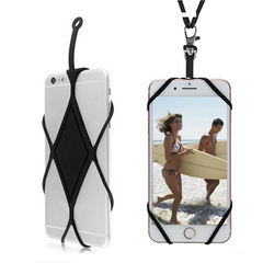 Universal Silicone Lanyard Case Cover Holder Sling Necklace Wrist Strap For Cell Phone random color one size