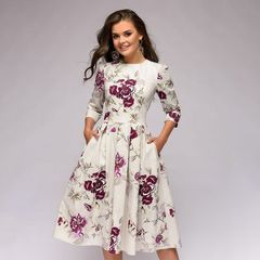 Women Dress Retro Floral Printing Cropped sleeves Round neck Dress Autumn Pockets Casual Party Dress xl white