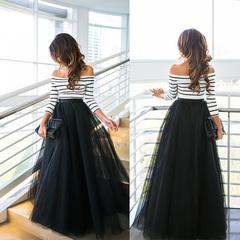 2019 Newest Dress!!!Striped Shirt+Puff Skirt Two-piece Women's Skirt Sexy Beautiful Noble Dress l White W Black