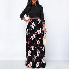 New Women Long Maxi Dresses Hollow Neck Three Quarter Sleeve Summer Beach Female Stylish Style Dress s black
