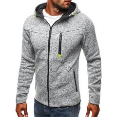 Men Sports Casual Wear Zipper COPINE Fashion Tide Jacquard Hoodies Fleece Jacket Sweatshirts Coat Light Gray S