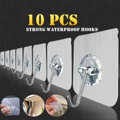 10Pcs Hook Strong Suction Wall Sucker Hanger Waterproof Adhesive Heavy LoadRack Stainless Steel Hook Transparent 10Pcs Hooks