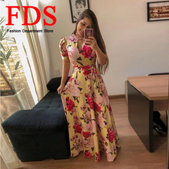 FDS 2019 New Dress Women's Casual Short-sleeved Dresses Sexy Long Dresses s yellow