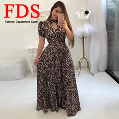 FDS 2019 Boho Maxi Dress Women Short Sleeve Print Long Dress Feminine Elegant Beach Floral Dresses s sexy