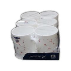 Luminarc cofee and tea mug - 6pcs set Red and white flowers normal