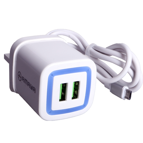 Amaya Square Charger For High Quality Quick Charge 2 USB white