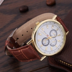 Men's Fashionable Casual Roman Watch Leather Wristwatch Coffee One Size