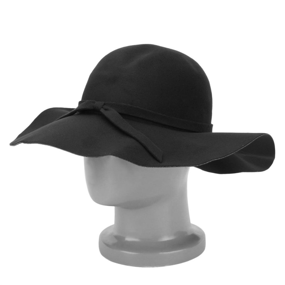 Women Vintage Wide Brim Bowler Hat Wave Curling Cap with Bow Knot ... cd02140bf83