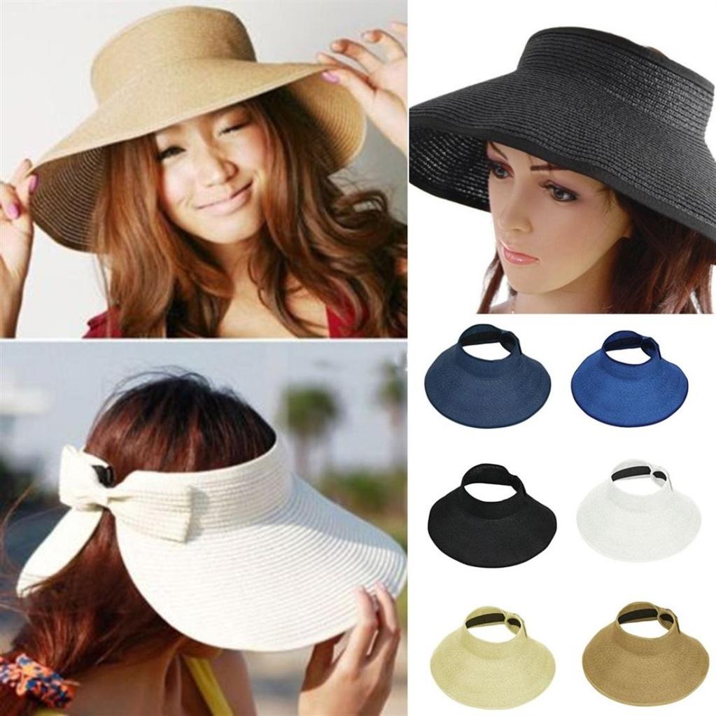 Ladies Women Summer Sun Beach Folding Roll Up Wide Brim Straw Visor Hat Cap  Khaki  Product No  2014352. Item specifics  Brand  4f642c44667c