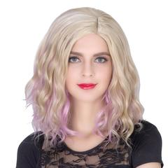 COS Wig Halloween Theme Wig Short Curly Hair Golden Pink Fading Golden Pink one size