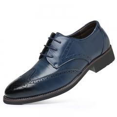 Men's formal business shoes Oxford brogue carve leather shoes wedding dress blue 47 Fine leather