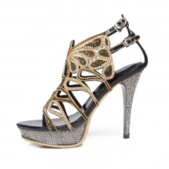 Luxury Women 5A Class Cystal High Heels Lady Shiny Butterfly Diamond Studded Sandals black 34