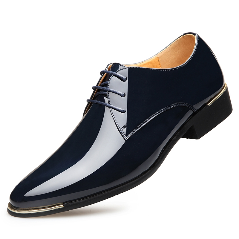 9d517883ca1 2018 Men New Fashion Business Lace Up Shoes Shiny PU Leather Classic  Gentleman Formal Shoes blue 39 leather  Product No  1850023. Item  specifics  Seller ...
