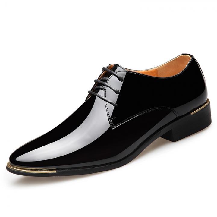 2018 Men New Fashion Business Lace Up Shoes Shiny PU Leather Classic Gentleman  Formal Shoes black d842dbcfe26d