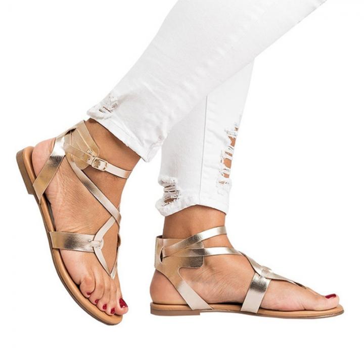 7f23af85dd2 Women Beige Golden Color Open-toe Casual Sandals Buckle Slippers Summer  Beach Shoes golden 40