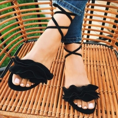 Women Floral Border Lace Up Sandals Bandage Red Pink Lady Shoes Flower Lace Slippers black 36