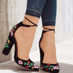 Women Flower Embroidery Element Heels Female Pointy Thick Square Heels Advanced Texure Lady Shoes black 34
