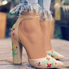 Women Flower Embroidery Element Heels Female Pointy Thick Square Heels Advanced Texure Lady Shoes nude 42