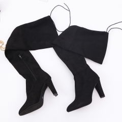 Popular Women Over Knee Boots Pointy Suede Thick Heels Resilient Lace Up Boots Wine Red Shoes black 35