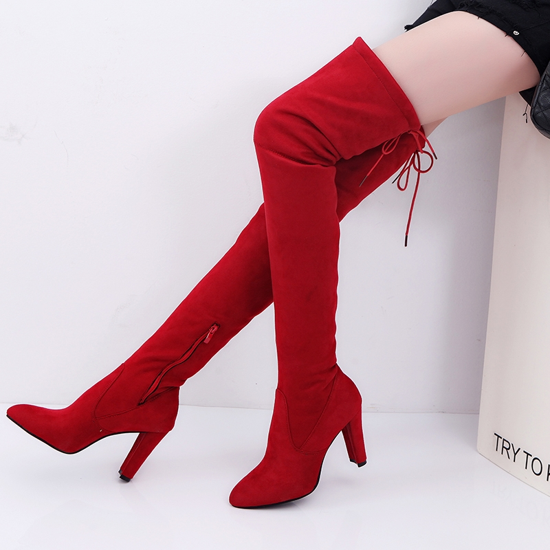 b4d7137eda6c2 Popular Women Over Knee Boots Pointy Suede Thick Heels Resilient Lace Up  Boots Wine Red Shoes wine red 43  Product No  1955514. Item specifics   Seller ...