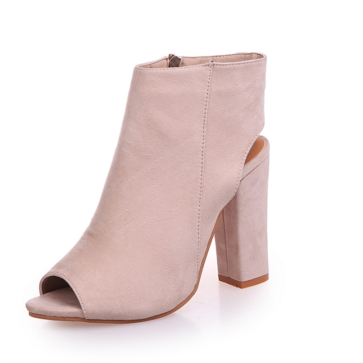 c1cb1f43293 2019 Wedding Shoes Women Pure Black Pink Nude Suede Ankle Boots Wear  Resistant Side Zip Thick Heels nude 40